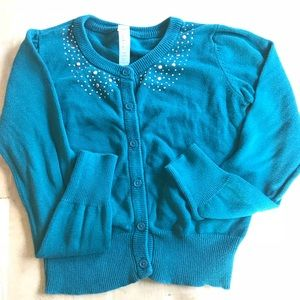 Girls Green Cardigan with Bead Collar accents